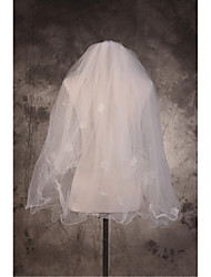 Wedding Veil Two-tier Elbow Veils Cut Edge / Pencil Edge Tulle Beige Beige