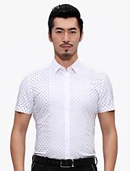 China famous Seven brand summer new slim man shirt polka dot cotton short shirts business gentleman