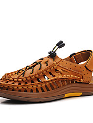 Men's Sandals Gladiator Summer Cowhide Walking Shoes Casual Flat Heel Yellow Brown Flat