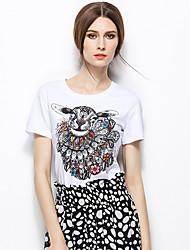 Zishangbaili® Femme Col Arrondi Manche Courtes Shirt et Chemisier Blanc-TX1507