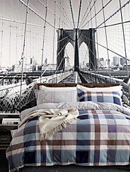 Plaid Cotton 3 Piece Duvet Cover Sets