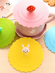 Dia 11cm Various Cartoon Animal Silicone Cup Cover Creative Color Mug Cap Drinkware (Random Color)