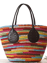 Damen-Beutel-Stroh-Shopper-Mehrfarbig