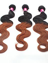 """3pcs / lot 12 """"24"""" brasilianisches Menschenhaar-Erweiterungen ombre Haar 1b / 30 Medium auburn Körperwelle Menschenhaar-Webart 100g /"""