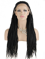Fashion Synthetic Wigs Lace Front Wigs 32inch Braided Black Heat Resistant Hair Wigs Women