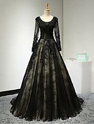 Formal Evening Dress-Black A-line Scoop Court Train Lace / Tulle