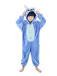 Kigurumi Pajamas Stitch / Monster Leotard/Onesie Halloween Animal Sleepwear Pink / Blue Patchwork Flannel Kigurumi KidHalloween /