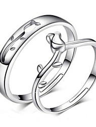 2pcs Sterling Silver Ring Hollow Rose Couple Rings Adjustable Fashion Jewelry for Couple Wedding Engagement Ring