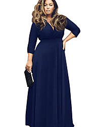 Women's Solid Blue/Red/Black/Purple Plus Size Dresses , Sexy/Casual V-Neck Long Sleeve