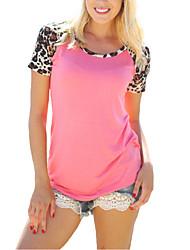 Damen Leopard Street Schick Lässig/Alltäglich T-shirt,Rundhalsausschnitt Sommer Kurzarm Rosa Kunstseide / Polyester Dünn