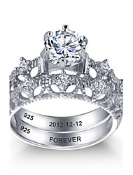 Personalized Noble 925 Sterling Silver Couples CZ Stone Wedding Ring