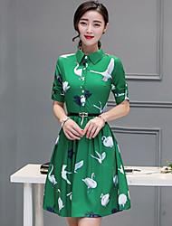 Women's Vintage Print Sheath Dress,Shirt Collar Knee-length Polyester
