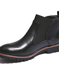 Men's Boots Fall Winter Comfort Leather Office & Career Casual Low Heel Split Joint Black Brown Burgundy