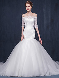 Fit & Flare Wedding Dress-Ivory Chapel Train Bateau Lace / Tulle