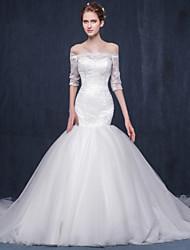 Fit & Flare Wedding Dress Chapel Train Bateau Lace / Tulle with Appliques / Lace