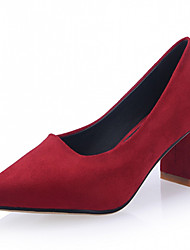 Women's Shoes Leatherette Chunky Heel Heels Heels Wedding / Office & Career / Party & Evening Black / Red / Gray