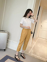 Women's Solid White / Yellow Loose Pants,Casual / Day