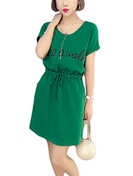 Women's Plus Size / Holiday Street chic Loose Dress,Print Round Neck Above Knee Short Sleeve Green / Orange Cotton Summer