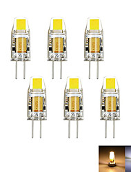 6pcs / lot g4 2w 1cob 100-150 lm dimmable blanco caliente / fresco mr11 llevado bi-pin luces dc / ac 12 v