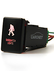 CARCHET Toyota LED Push Switch with Connector Wire Kit- Laser SASQUATCH LIGHTS Symbol -RED