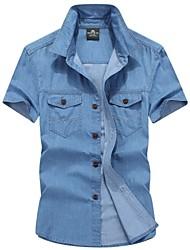 Camisa De los hombres Un Color Casual / Trabajo / Formal / Tallas Grandes-Algodón-Manga Corta-Azul
