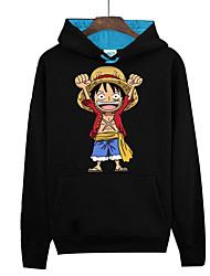 Inspiré par One Piece Monkey D. Luffy Manga Costumes de Cosplay Cosplay à Capuche Imprimé Manches Longues Haut Pour Unisexe