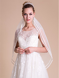 Wedding Veil One-tier Fingertip Veils Ribbon Edge