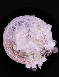 Women's Lace / Rhinestone / Imitation Pearl / Flax Headpiece-Wedding / Special Occasion / Outdoor Fascinators 1 Piece