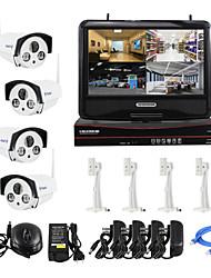 yanse® enchufe inalámbrico de 10 pulgadas y reproducir HD sistema de cámaras de seguridad de vigilancia bala p2p 960p casa NVR kit de