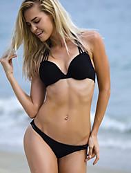 Women's Sexy Solid Halter Lace-Up Bikini Set
