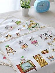 """4pcs placemats packen komisch Katze Baumwollgewebe waschbar Mode-Muster 11,8 """"von 12,6"""""""