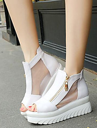 Черный / Белый-Женская обувь-Для праздника / На каждый день-Дерматин-На платформе-На платформе / Удобная обувь-Сандалии