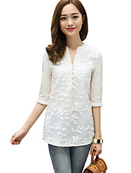Women's Going out Simple / Street chic Blouse,Jacquard V Neck ½ Length Sleeve White Cotton Thin