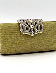 Women Satin Baguette Clutch / Evening Bag / Cosmetic Bag-Gold / Silver