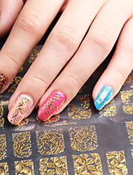 3D Nail Art Full Nail Sticker Golden Color ,60 Decals/Sheet,5 Different Styles in 1 Sheet,For 5 Pairs of Hands-YILIN-83G