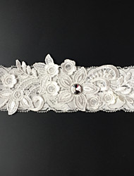 Garter Stretch Satin Flower / Rhinestone White / Beige