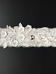 Strumpfband Stretch-Satin Blume Strass Weiß Beige