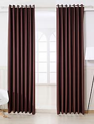 Dos Paneles Moderna Sólido Café Dormitorio Rayón Blackout cortinas cortinas