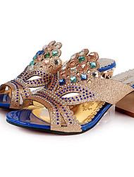 Zapatos de mujer-Tacón Robusto-Punta Abierta-Sandalias-Exterior / Vestido / Casual-PU-Negro / Azul Real