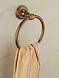 Antique Gold and Ceramic Aluminum Wall Mounted Towel Ring