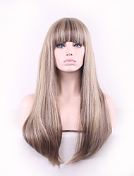 Women Long Straight Synthetic Hair Wigs Full Bang Brown with Free Hair Net