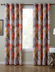 Chadmade SOFITEL Heat Tranfer Print Flower Leopard Pattern - Lined Curtain Panel Drapes - Green+Orange