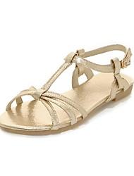 Women's Shoes PU Flat Heel Slingback / T-Strap / Comfort Sandals Outdoor / Dress Silver / Gold