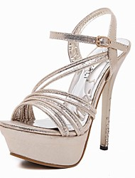 Women's Dance Shoes Latin / Modern Crystal Stiletto Heel Platform Sandals Silver / Gold