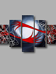 Hand-painted Abstract Wall Art Home Decor Oil Painting on Canvas 5pcs/set With Stretched Frame