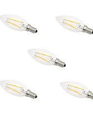 2W E14 Ampoules à Filament LED CA35 2 LED Haute Puissance 180 lm Blanc Chaud Blanc Froid Décorative AC 100-240 V 5 pièces