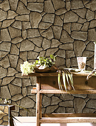 HaokHome® Vintage Marbel Stone Wallpaper Rolls Taupe Bricks Vinyl Kitchen Wall Paper Murals Realistic Home Decoration