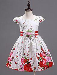 Girl's Purple / Red Dress,Print Cotton / Polyester Summer Print Randomly