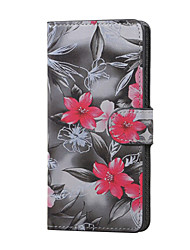 Red Flower Magnetic PU Leather wallet Flip Stand Case cover for Huawei Ascend P9