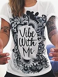 Vrouwen Eenvoudig / Street chic Zomer T-shirt,Casual/Dagelijks Bloemen Ronde hals Korte mouw Wit Polyester Dun